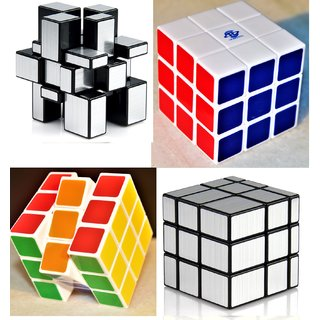 Fast And Smooth COMBO 3x3x3 SILVER Mirror Magic Cube+Color Matching Rubik Cube Set