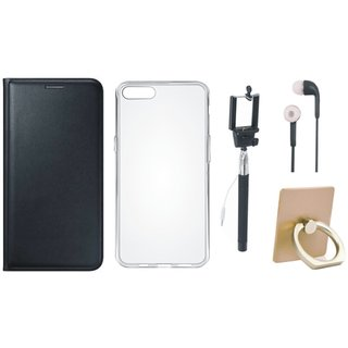 Oppo F1 Plus Luxury Cover with Ring Stand Holder, Silicon Back Cover, Selfie Stick and Earphones