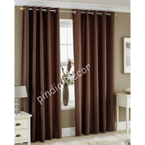 7 Ft BROWN FAUX SILK CURTAINS EYELET DOOR WINDOW CURTAIN POLYESTER PLAIN RINGTOP PINDIA 84 Inch 84""