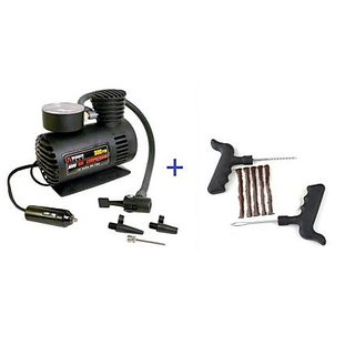 12v 300 Psi Electric Air Compressor With Tubeless Tyre Puncture Kit