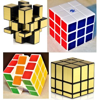 Fast And Smooth COMBO 3x3x3 Golden Mirror Magic Cube+Color Matching Rubik Cube Set