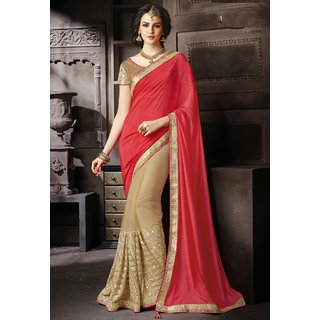 Indian Style Sarees New Arrivals Latest Women's Beautiful Pink Tometo Colored EMBROIDERY  Georgette saree 9287