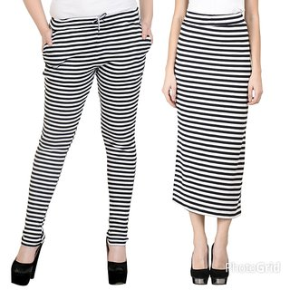 Raabta Strip Skirt N Drosting Pant Set of Two Combo
