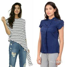 Raabta Strip Long Top N Navy Shirt Set of Two Combo