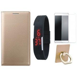 Oppo F1 Plus Flip Cover with Ring Stand Holder, Free Digital LED Watch and Tempered Glass