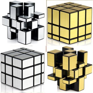Fast And Smooth COMBO 3x3x3 SILVER + GOLDEN Mirror Magic Matching Rubik Cube Set