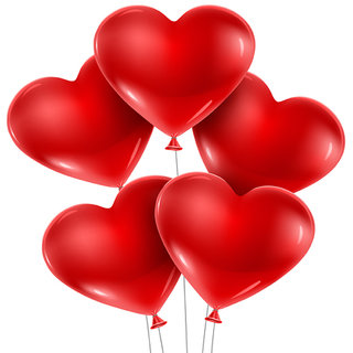 Cute Red Heart Shape Balloons Party For Birthday Parties Anniversary And Festivals Pack Of