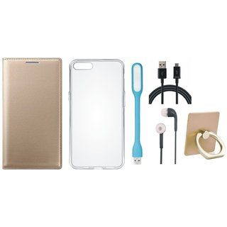 Vivo V7 Premium Leather Cover with Ring Stand Holder, Silicon Back Cover, Earphones, USB LED Light and USB Cable