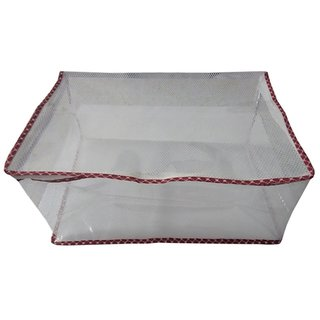 Fashion Bizz Designer Transparent Premium Quality Red Multi Saree Cover Set Of 1 Pc