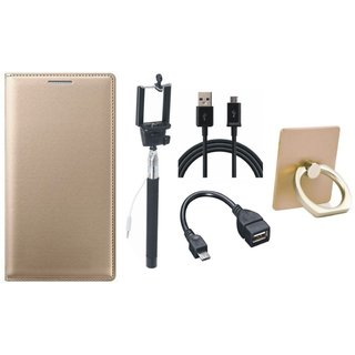 Vivo V7 Leather Flip Cover with with Ring Stand Holder, Selfie Stick, OTG Cable and USB Cable