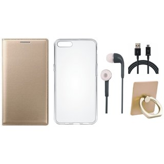 Vivo V7 Leather Flip Cover with with Ring Stand Holder, Silicon Back Cover, Earphones and USB Cable