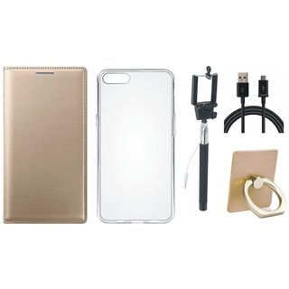 Moto C Plus Leather Cover with Ring Stand Holder, Silicon Back Cover, Selfie Stick and USB Cable