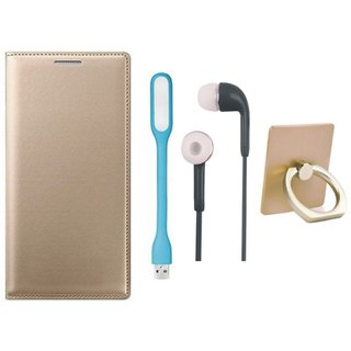 Moto C Plus Flip Cover with Ring Stand Holder, Earphones and USB LED Light