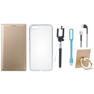 Oppo F1 Plus Leather Flip Cover with with Ring Stand Holder, Silicon Back Cover, Selfie Stick, Earphones and USB LED Light