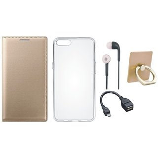 Moto C Plus Premium Leather Cover with Ring Stand Holder, Silicon Back Cover, Earphones and OTG Cable
