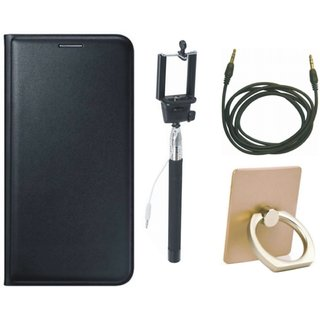 Moto G5 Flip Cover with Ring Stand Holder, Selfie Stick and AUX Cable