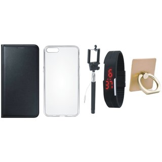 Moto C Flip Cover with Ring Stand Holder, Silicon Back Cover, Selfie Stick and Digtal Watch