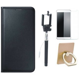 Moto C Flip Cover with Ring Stand Holder, Free Selfie Stick and Tempered Glass