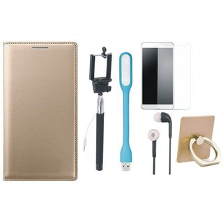 Moto C Plus Leather Flip Cover with with Ring Stand Holder, Free Selfie Stick, Tempered Glass, Earphones and LED Light