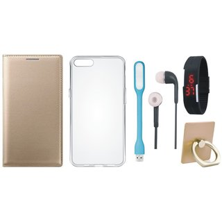 Moto C Plus Leather Flip Cover with with Ring Stand Holder, Silicon Back Cover, Digital Watch, Earphones and USB LED Light