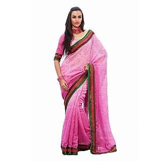 Manjula Designer Saree In Smita Silk Self Print Fabric With Designer Work