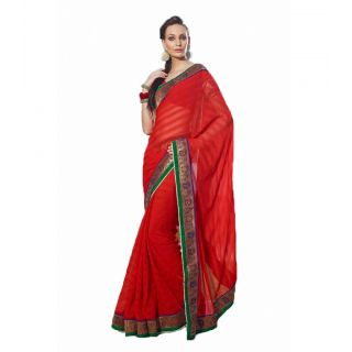 Manjula Multicolor Raw Silk Self Design Saree With Blouse