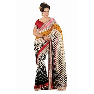 Manjula Trendy Printed Saree In Georgette Chiffon Pleasant Colours With Unique Embroidery Border Work
