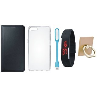 Samsung C9 Pro Leather Cover with Ring Stand Holder, Silicon Back Cover, Digital Watch and USB LED Light