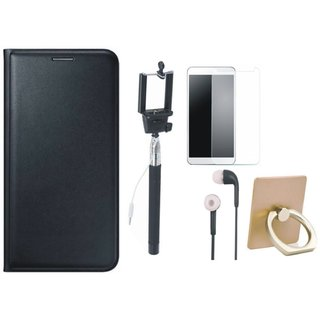 Moto G5 Leather Flip Cover with with Ring Stand Holder, Free Selfie Stick, Tempered Glass and Earphones