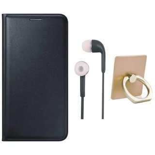 Samsung C9 Pro Leather Flip Cover with with Ring Stand Holder, Earphones