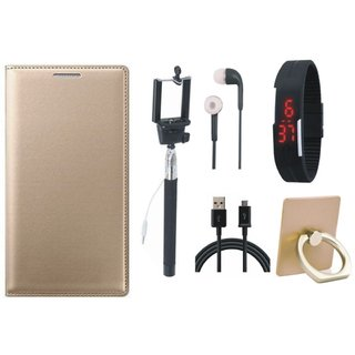 Moto G5 Premium Leather Cover with Ring Stand Holder, Selfie Stick, Digtal Watch, Earphones and USB Cable