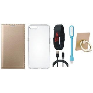 Moto G5 Premium Leather Cover with Ring Stand Holder, Silicon Back Cover, Digital Watch, USB LED Light and USB Cable