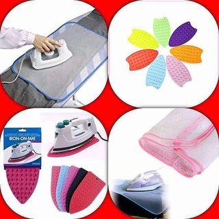 BANQLYN 1 Pcs Silicone Iron Rest Ironing Pad + 1 Pcs Iron Clothing Sheet Combo