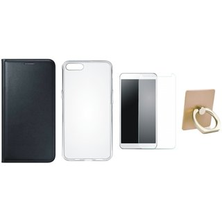 Samsung C9 Pro Leather Flip Cover with with Ring Stand Holder, Silicon Back Cover, Tempered Glass