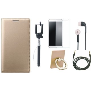 Moto C Cover with Ring Stand Holder, Free Selfie Stick, Tempered Glass, Earphones and AUX Cable