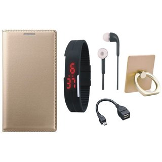 Samsung C9 Pro Leather Cover with Ring Stand Holder, Digital Watch, Earphones and OTG Cable