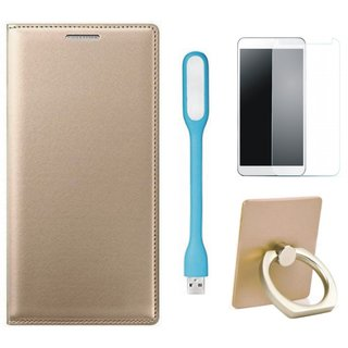 Samsung C9 Pro Leather Cover with Ring Stand Holder, Tempered Glas and USB LED Light