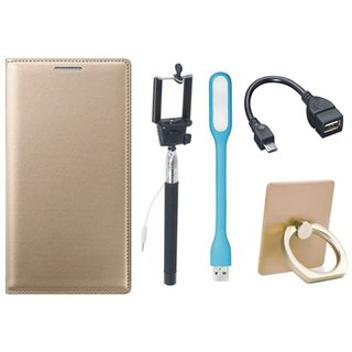 Moto C Leather Flip Cover with with Ring Stand Holder, Selfie Stick, LED Light and OTG Cable