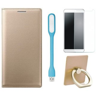 Moto C Leather Flip Cover with with Ring Stand Holder, Tempered Glas and USB LED Light
