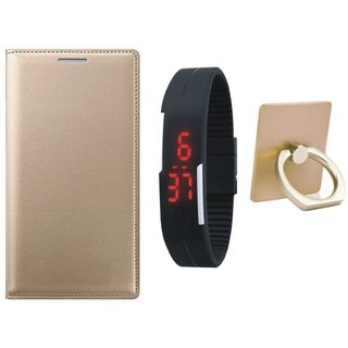 Samsung C9 Pro Leather Cover with Ring Stand Holder, Digital Watch
