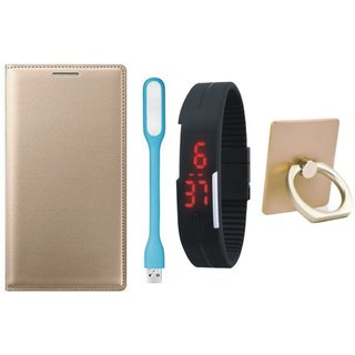 Moto G5 Leather Flip Cover with with Ring Stand Holder, Digital Watch and USB LED Light