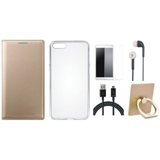Moto C Leather Flip Cover with with Ring Stand Holder, Silicon Back Cover, Earphones, Tempered Glass and USB Cable