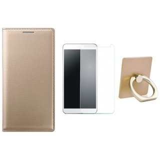Moto G5 Leather Flip Cover with with Ring Stand Holder, Tempered Glass