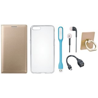 Moto C Leather Flip Cover with with Ring Stand Holder, Silicon Back Cover, Earphones, USB LED Light and OTG Cable