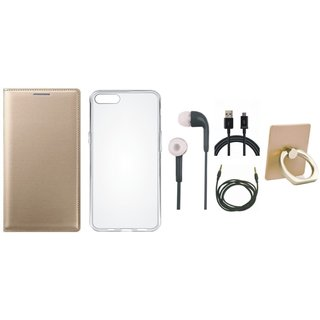 Moto G5 Leather Flip Cover with with Ring Stand Holder, Silicon Back Cover, Earphones, USB Cable and AUX Cable