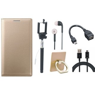 Moto C Leather Flip Cover with with Ring Stand Holder, Selfie Stick, Earphones, OTG Cable and USB Cable