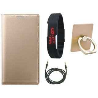 Moto G5 Leather Flip Cover with with Ring Stand Holder, Digital Watch and AUX Cable