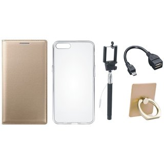 Moto C Leather Flip Cover with with Ring Stand Holder, Silicon Back Cover, Selfie Stick and OTG Cable