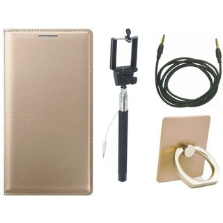Moto G5 Leather Flip Cover with with Ring Stand Holder, Selfie Stick and AUX Cable