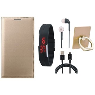 Moto G5 Leather Flip Cover with with Ring Stand Holder, Digital Watch, Earphones and USB Cable